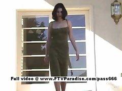 Awesome girl Nadine brunette horny girl undressing outdoors