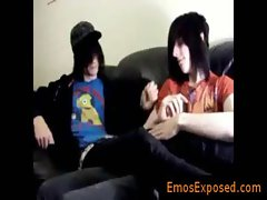 Two gay emo twinks making out on the bed gay porno