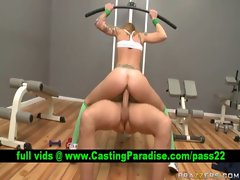 Scarlett Pain slut riding cock at gym