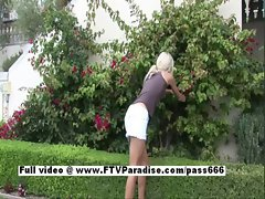 Kori stunning skinny amateur light-haired girl outdoor posing