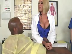 White nurse sucking black cock and loving it