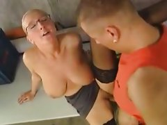 Tempting blonde With saggy Hooters Banged