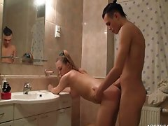 Sassy teen bang in bathroom