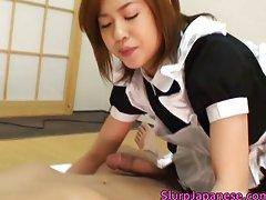 Kinky maid Aito caresses some heavy sappy