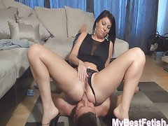 Deep tongue in butt insertion
