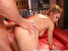Cock dreaming slutty mom banged on the couch