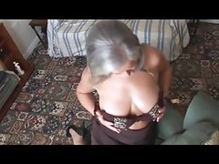 Mommy Attractive top heavy granny in stockings