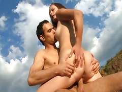 Couple has fun in nature