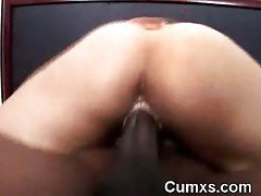 White Naughty bum Vixen Riding Black Fellow