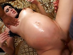 Ebony haired future stepmom screwed while pregnant