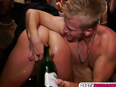 Bottle of champagne in her stunning anal