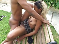 Slutty ebony observing and banging the poolboy