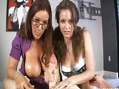 luscious teen and mother giving adorable handjob