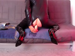 Huge 5 cm asshole fake penis fuck in catsuit thigh boots + cumshot