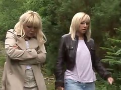 2 housewives give hand-blowjob to a stranger in the woods