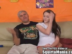 All natural sassy teen Holly Nowell squirting on Porno Dan