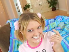 MRY - seductive saucy teen bitch in pigtails rocks out a bbc