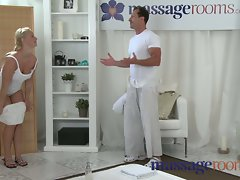 Massage Rooms Attractive petit chick gets crushed by fellow with big