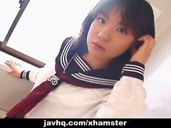 Comely Jap schoolgirl cumfaced uncensored