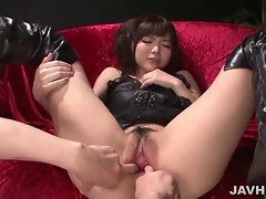 Latex clad Megumi Shino finds herself in a filthy crazy threesome action
