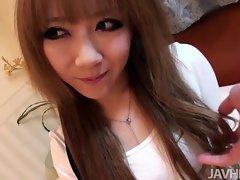 Jap doll Rui Aikawa creampied by a xxl big cock