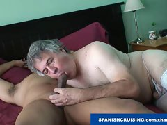 Attractive daddy stroked by crossdresser