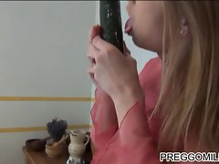 lactation amateur Mum banging with cucumber