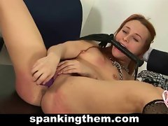 Redhead slutty girl spanked by teacher