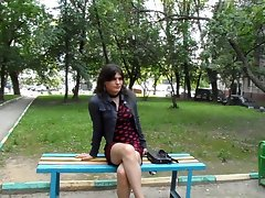 Seductive russian crossdresser on the street
