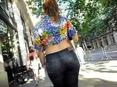 PAWG redhead with big sensual butt in tense jeans