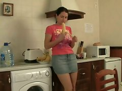 Shaggy sister backdoor fun in kitchen