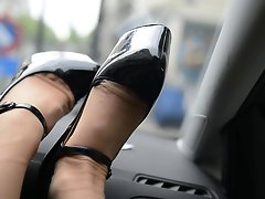 voyeur upskirt secretary outfit:nylons high heels in the car