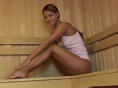 Tempting blonde saucy teen at the sauna room