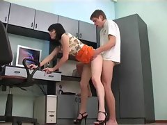 Secretary With Sexual legs gets a creampie