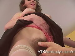 Very hairy Mommy seduces a younger man