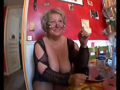 Attractive shaven fatty granny in stockings banging with two fellows