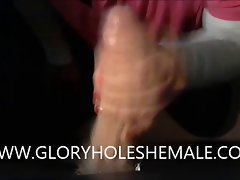 SHEMALE Fellatio HUNG Penis ON GLORYHOLE
