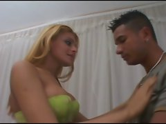 Sensual Tempting blonde Transvestite and a Lad