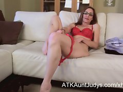 So luscious fit Mum in glasses masturbates on camera