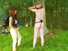 Dominatrix Annabelle has a BBQ with her Slaves
