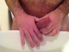 Bathroom masturbating quick cumshot
