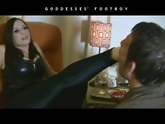 Smoking Fetish Woman Domination in leather boots