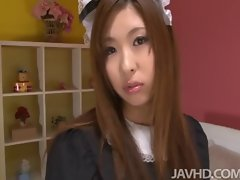 Seductive japanese bombshell Ami Kurosawa in a French maid uniform on the