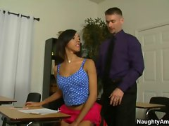slim latina gets butt fingered by attractive teacher