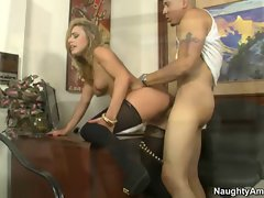 filthy tempting blonde Kennedy Leigh rides shaft on her office desk