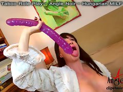 HUGE DEEPTHROAT + GAG 2 DOUBLE HEADED DILDOS! By Angie Noir