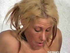 Blondie slave waxed and piercing in dirty bdsm of Crystel Lei