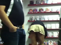 Adult Bookstore - Skirt, no panties