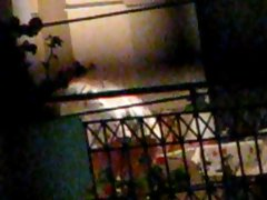 Greek Mature whore bendover upskirt on Balcony