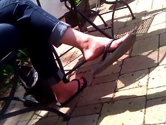 Candid Feet - Cougar Flip-Flop Dangle